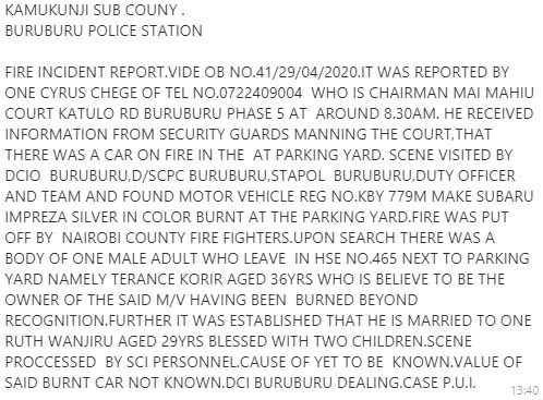 Police report on Wednesday's incident