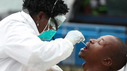 A man is tested for Coronavirus