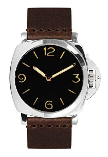 PARNIS 9002 klassische Handaufzug Herren-Armband-Uhr 47mm Herrenuhr 5BAR Wasserdicht 316L Edelstahl-Gehäuse robustes Lederarmband Markenuhrwerk von SeaGull Kaliber ST36