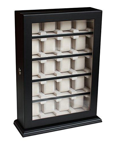 Höchste Qualität zur Zufriedenheit unserer Kunden Uhrenbox für die Wandmontage für 20 Uhren in schwarz für große Uhren