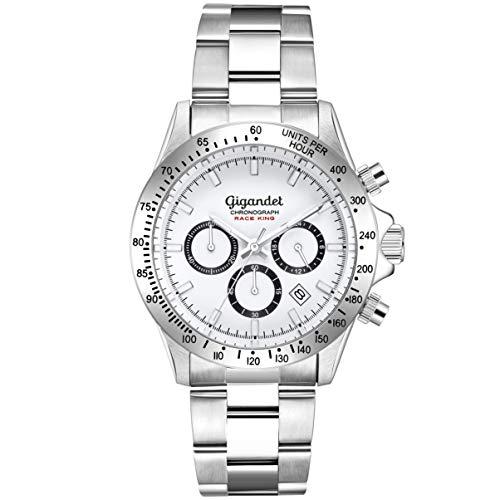Gigandet Herrenuhr Silber mit Edelstahlarmband Chronograph weißes Ziffernblatt Herren Armbanduhr Analog Datum Faltschließe Race King G33-001
