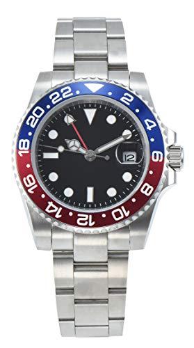 PARNIS 2034-RB GMT Herrenuhr Automatikuhr Edelstahl Saphirglas Drehünette mit eloxierter Aluminiumeinlage Wasserdicht 5BAR DIN 8310 mechanisches Uhrwerk MZ-3813 mit zweiter Zeitzone