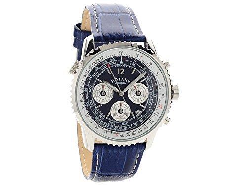 Herren Rotary blau Zifferblatt Tachymeter Analog Quarz Blau Leder Armbanduhr gs00676/05