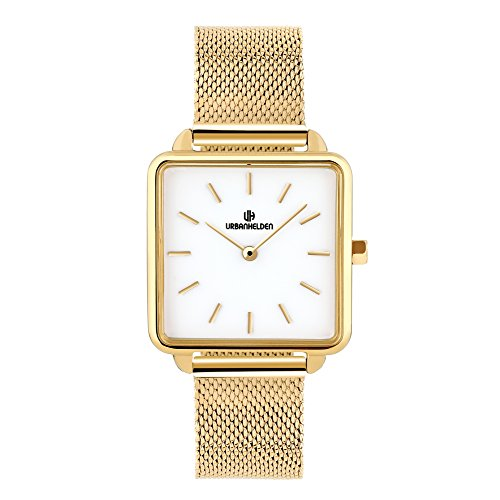 URBANHELDEN Armbanduhr Madison mit Mesharmband - Damenuhr Edelstahl, Mineralglas, Quarzwerk, 28,5 mm eckige Retro Damen Uhr - Metall Armband Gold