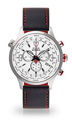 DETOMASO AURINO Herren-Armbanduhr Chronograph Analog Quarz schwarzes Lederarmband weisses Zifferblatt DT1061-D-898