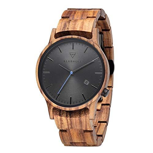 Kerbholz Unisex Erwachsene Analog Quarz Gustav Zebranowood Armbanduhr mit Holz Armband 4251240405537