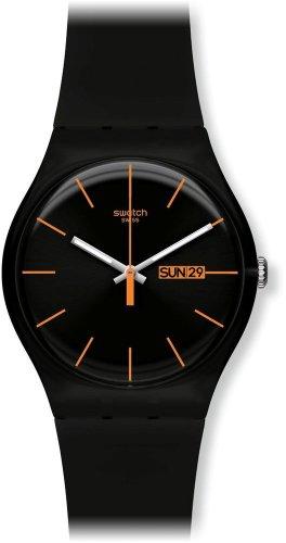 Swatch Unisex-Armbanduhr Dark Rebel Analog Quarz Plastik SUOB704