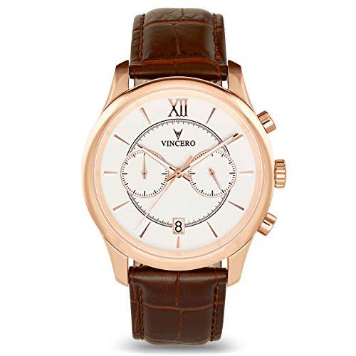 Vincero Luxus Bellwether Herren Armbanduhr – Roségold /Weiß mit braunem Lederarmband