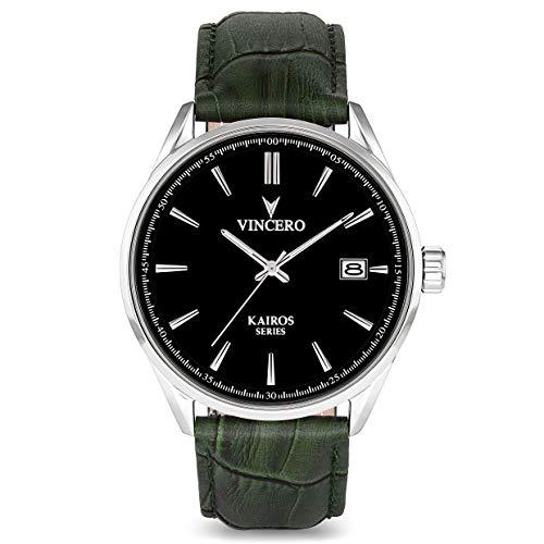 Vincero Luxus Kairos Herren Armbanduhr - Schwarzes Zifferblatt mit olivfarbenem Lederarmband - 42 mm Analoguhr - Japanisches Quarz Uhrwerk