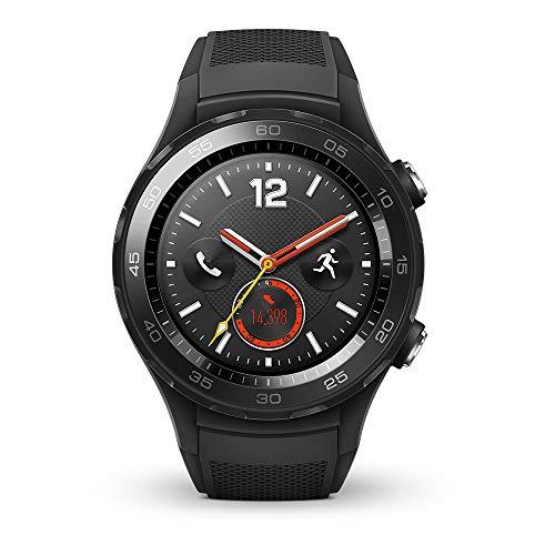 HUAWEI WATCH 2 (4G) Smartwatch mit schwarzem Sportarmband (SIM-Unterstützung, NFC, Bluetooth, WLAN, Android Wear™ 2.0) schwarz
