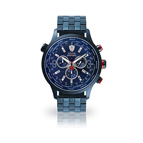 DETOMASO AURINO Herren-Armbanduhr Chronograph Analog Quarz blaues Edelstahlgehäuse dunkel blaues Zifferblatt - Jetzt mit 5 Jahre Herstellergarantie (Edelstahl - Blau)