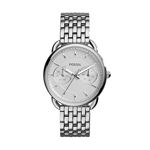 Fossil Tailor Damen Armbanduhr aus Edelstahl / Handgelenk Uhr inkl. Wochentags- & Datumsanzeige - wasserfestes, analoges Quarzuhrwerk mit Zeiger