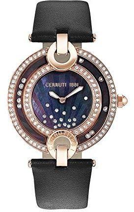 Cerruti Damenuhr mit Echtlederband CRM054SR30BK