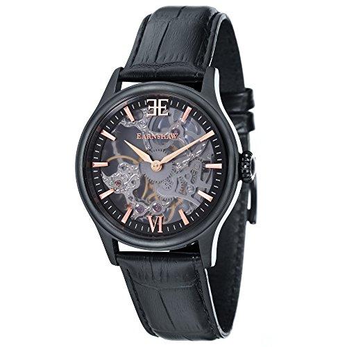 Thomas Earnshaw Bauer Shadow ES-8061-06 mechanische Herren-Armbanduhr, schwarzes Zifferblatt mit Skelett-Anzeige, schwarzes Lederarmband