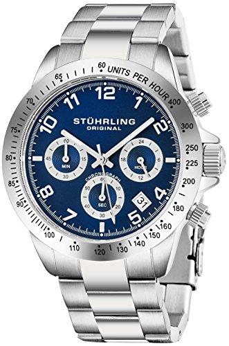 Stuhrling Original Herren-Quarzchronograph Uhr Blau Zifferblatt Tachymeter Sport Armbanduhr Solides Edelstahl-Gliederarmband Faltschließe Wasserdicht bis auf 50 Meter Tiefe Designer Uhr Kollektion