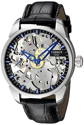 Tissot Herren-Armbanduhr Armband Leder Schwarz Handaufzug T0704051641100