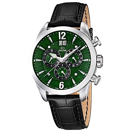 Jaguar Herren Armbanduhr Analog Chronograph Datum Edelstahl Lederband J661/3
