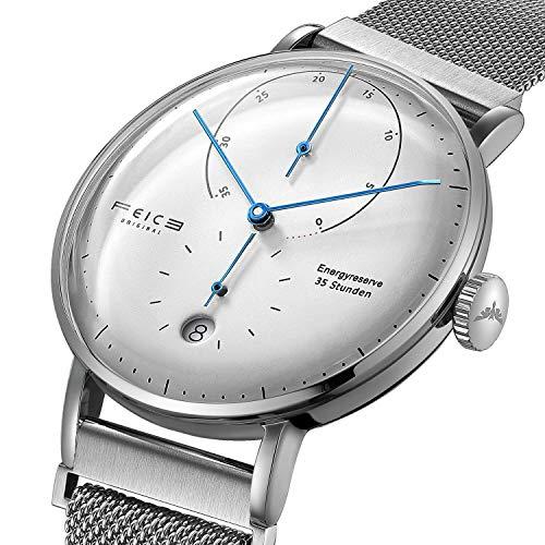 FEICE Herren Uhr Analog Automatik Uhrwerk mit Silber Edelstahlband Gewölbtes Mineralglas Minimalistische Bauhaus Armbanduhren Multifunktions - FM202