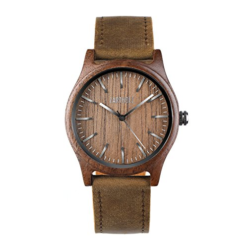 ZARTHOLZ Herren Damen Holz-Armbanduhr Meister aus Walnussholz Holzuhr Braun Silber Analog Quarz Lederarmband 40mm ZH004