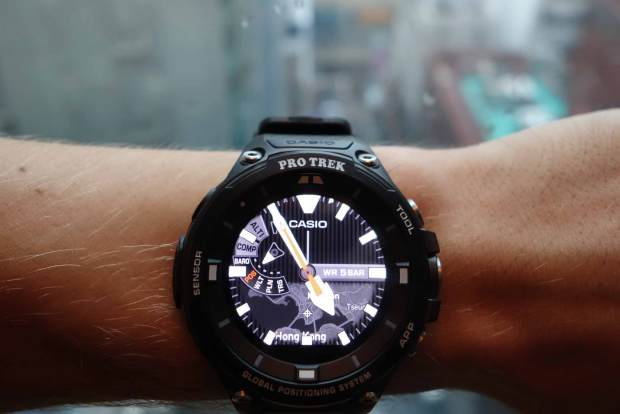 "Casio ProTrek Smart WSD-F20 with ""Traveler"" watch face in Hong Kong"
