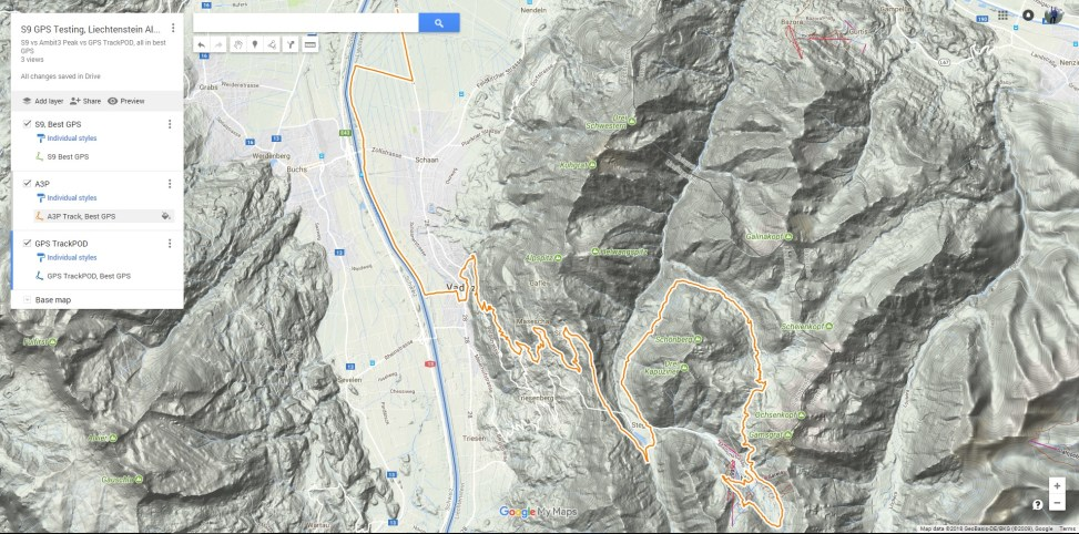 GPS Testing Map Liechtenstein