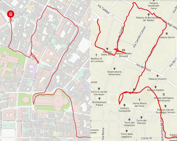 Casio Rangeman vs. Suunto 9 GPS track recordings in Florence, Italy - where all GPS devices have problematic issues