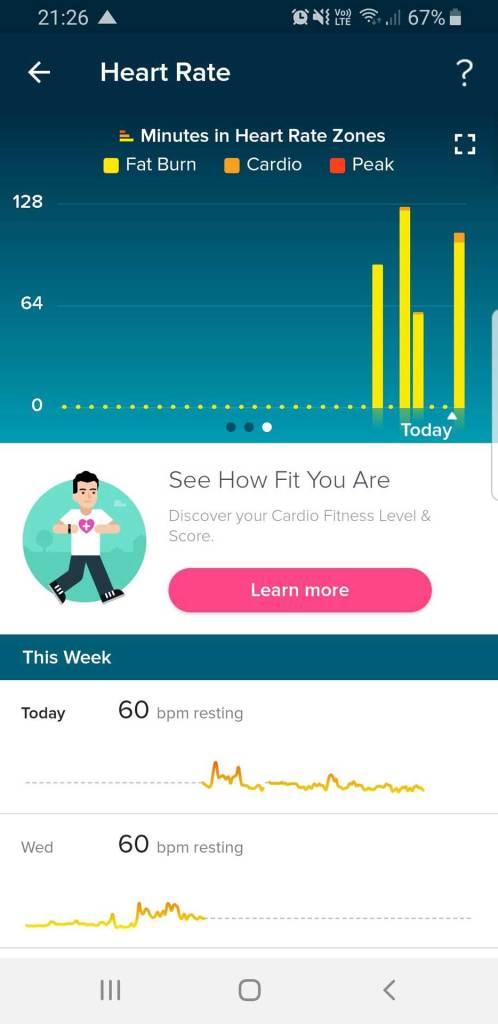 Fitbit App: Überblick über Herzfrequenz - Zeit in HR-Zonen