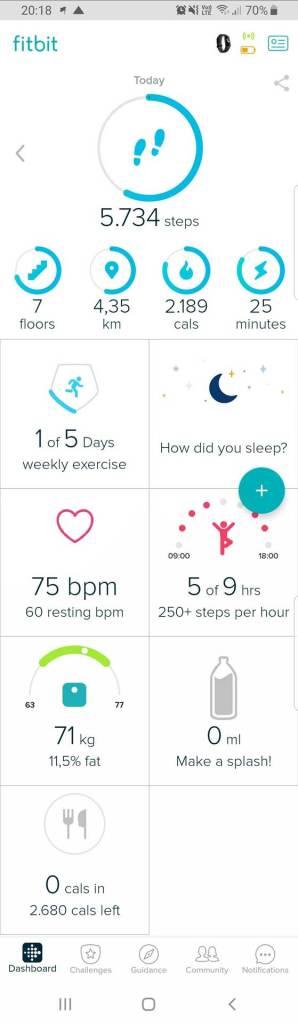 Fitbit App Startbildschirm