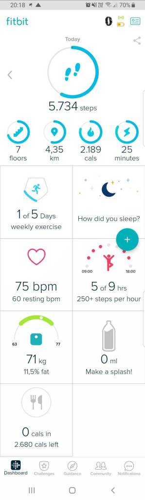 Fitbit App Start Screen