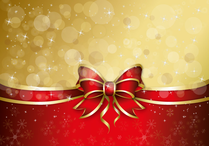 Christmas Gift Ribbon Vector Background For Greeting Card