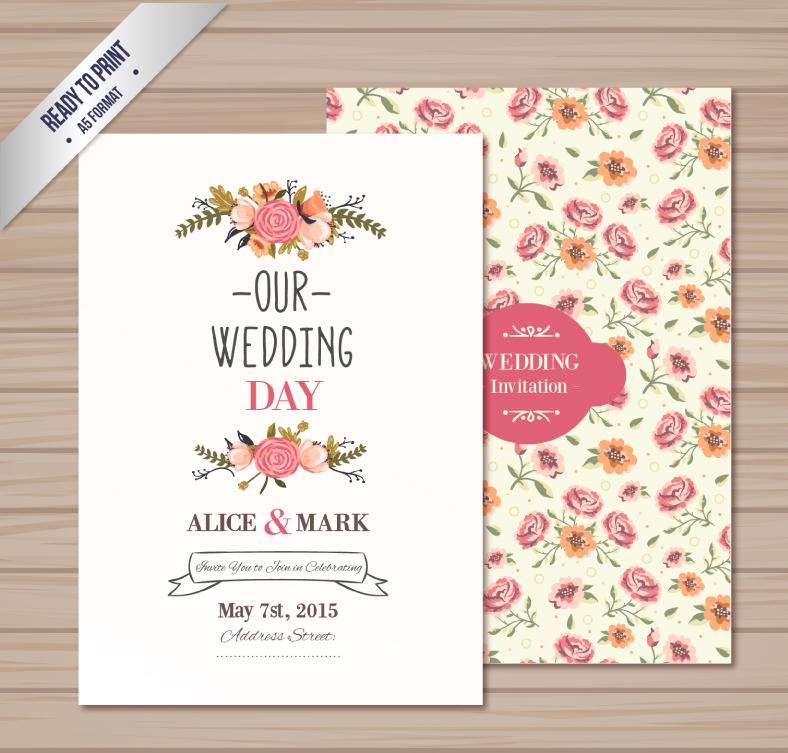 Watercolor Fl Wedding Invitation Card Vector Material Free