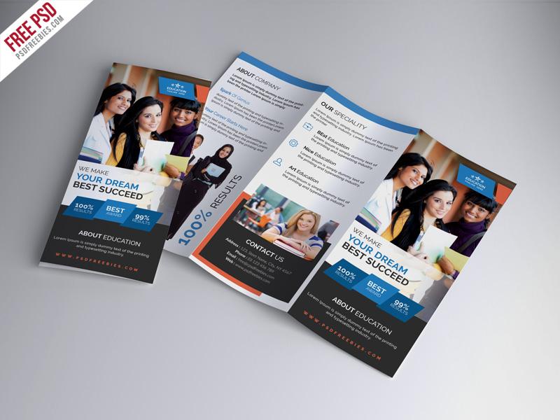 Free University Education Tri Fold Brochure Psd Template