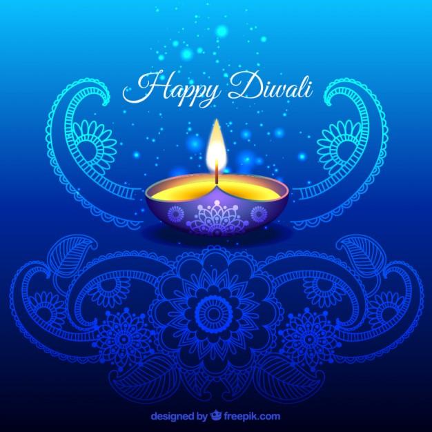 Ornamental Diwali Background In Blue Color Free Vectors