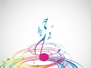 Colorful spiral and a music note in the middle , thumb