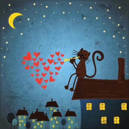 Download Free vector cat singing love song in night | free vectors ...