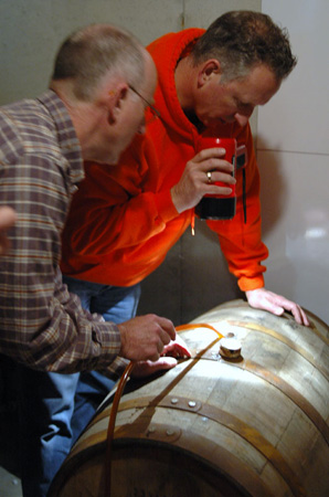 Filling the barrel -- Jeff and Bob