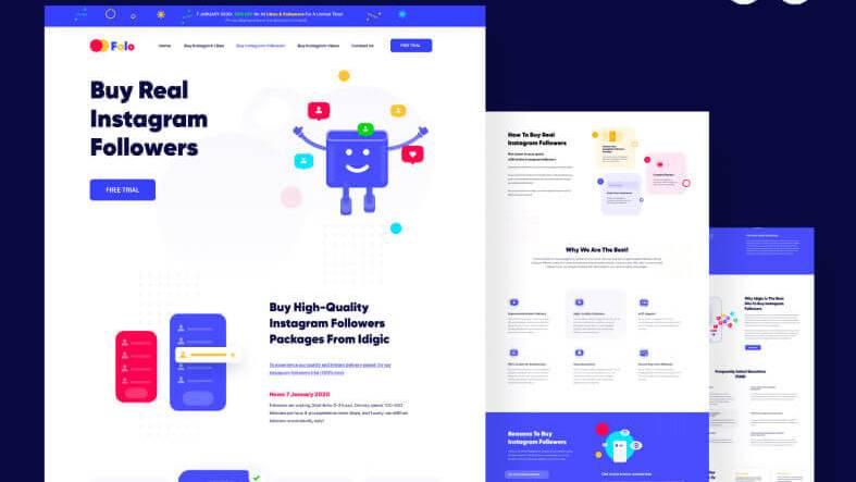 Folo Landing Page Design- uifreebies.net