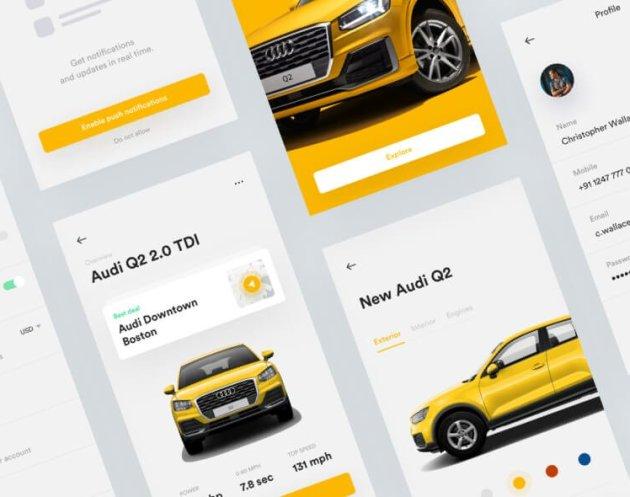Audi UI Kit App Free for Sketchapp