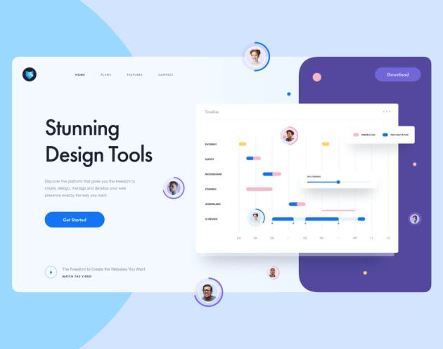 Design Tool Landing Page- uifreebies.net
