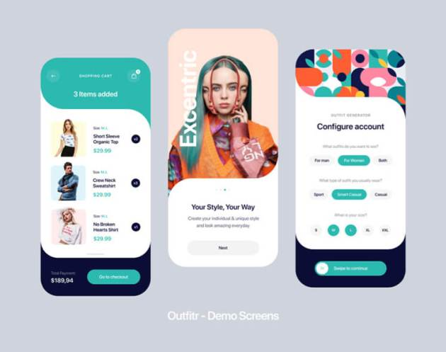 Outfit Fashion UI Kit Free