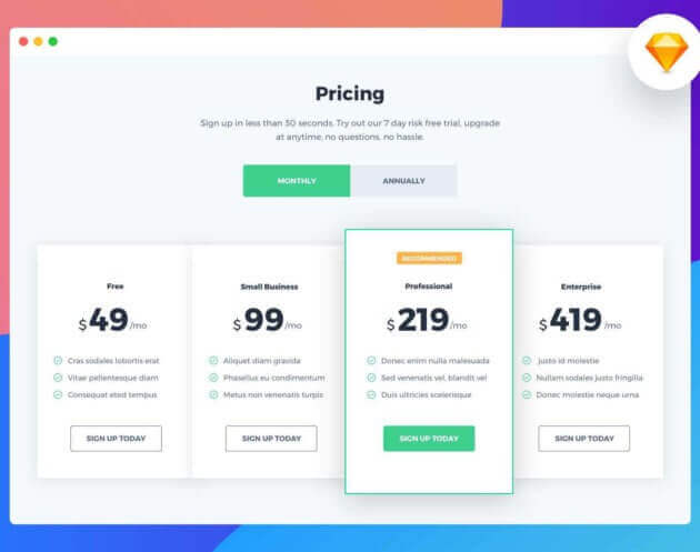 Price Tables Design Free