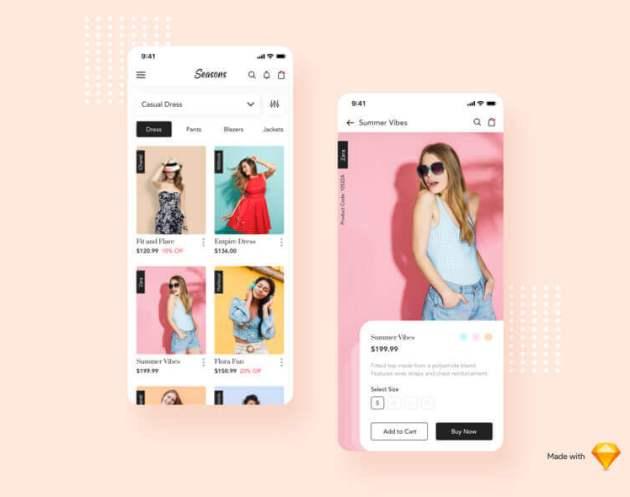 Seasons Fashion App- uifreebies.net