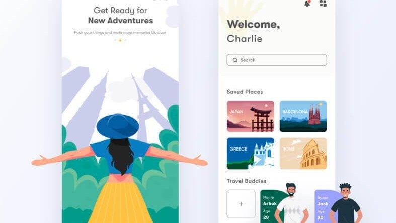 Travel App Design- uifreebies.net