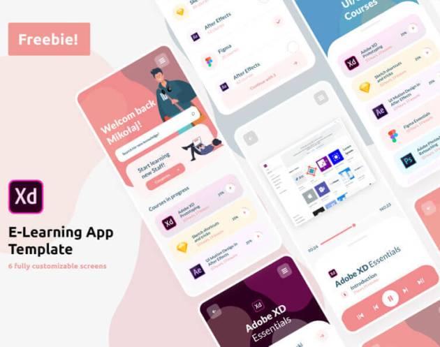 E-Learning App Template UI Kit- uifreebies.net