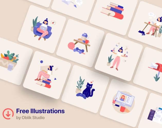 Remote Work Illustrations- uifreebies.net