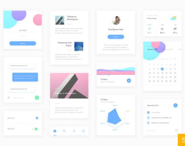 Minimal UI Kit Sketch - uifreebies.net