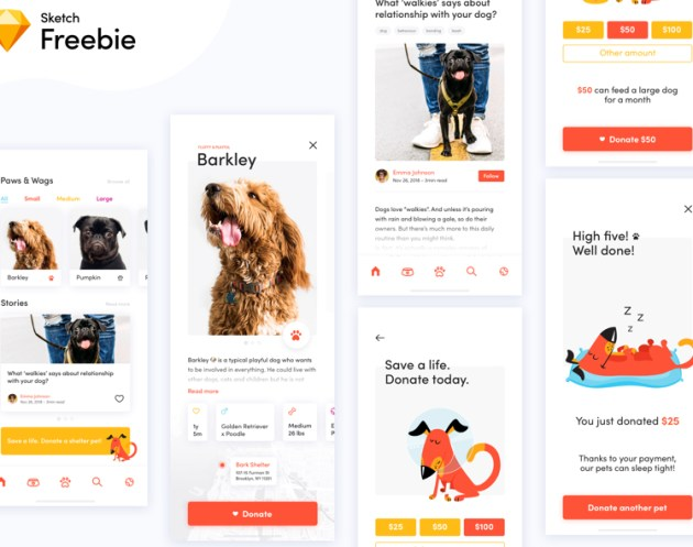 Dog Donation App Concept Sketch freebie