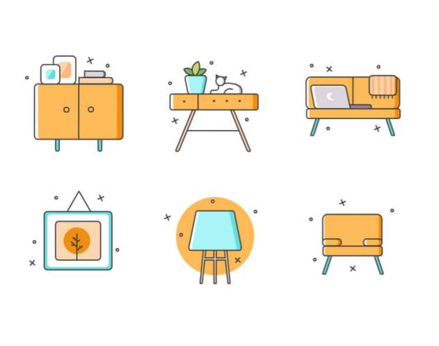 Furniture Free Icons Set