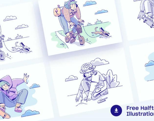 Free Halftone Illustrations