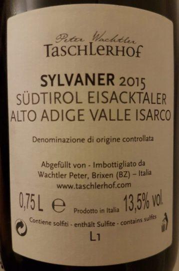 Achteretiket Taschlerhof Sylvaner 2015